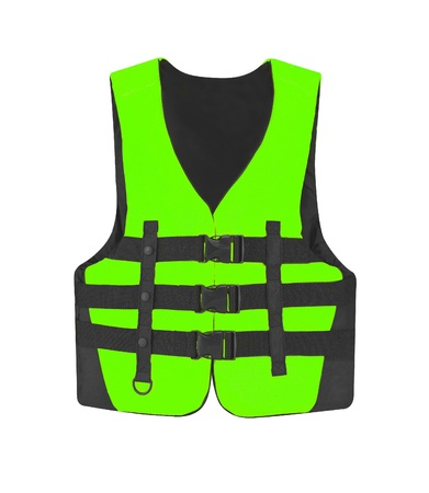 safety jacket: green vest isolated on the white background