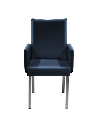 blue leather Armchair isolated on white with a drop shadow. Stockfoto