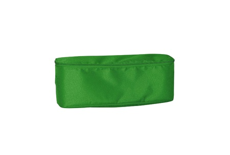 green pencil-case on white background photo