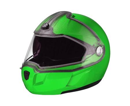 green shiny motorcycle helmet Isolated on white background Stock Photo