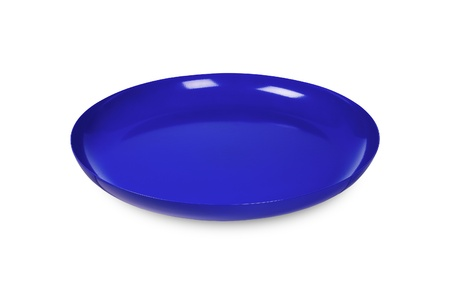 food supply: blue disposable plate on white Stock Photo