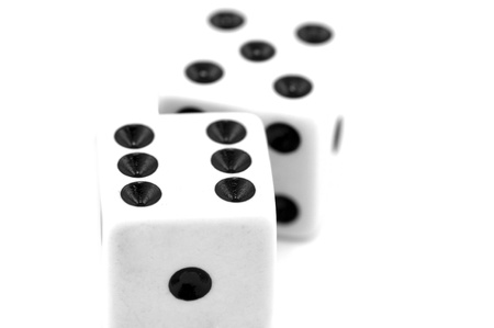 Gambling dices isolated on white background photo