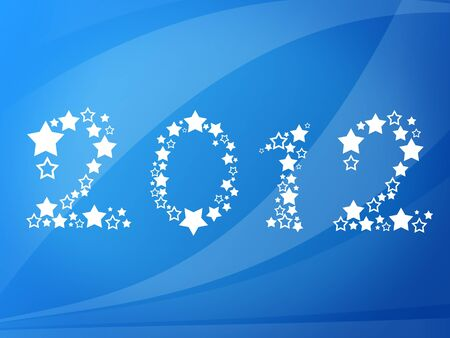 Happy new year 2012 message over blue background photo