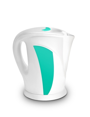 electric tea kettle: Steel electric kettle isolated Stock Photo