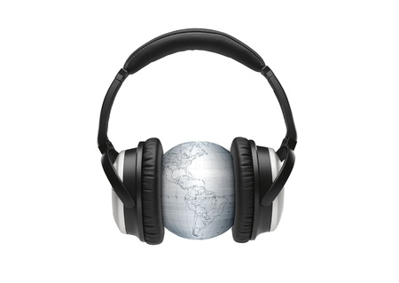 globus with headphones photo