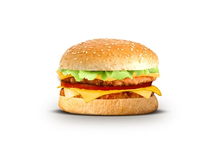 Cheeseburger on a white background photo