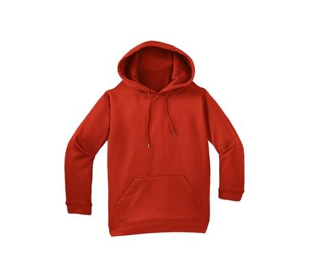 sudadera: suéter rojo sobre fondo blanco Foto de archivo
