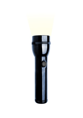 Black metal flashlight with a strap on white background photo