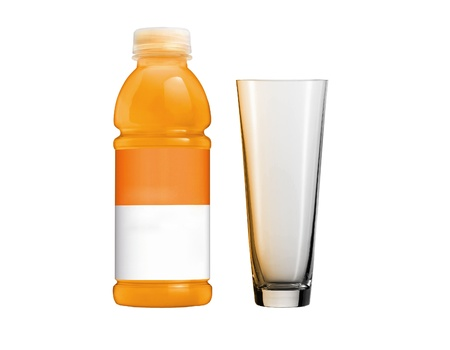 Orange juice in plastic bottle and glass on white background Stock Photo - 13144911