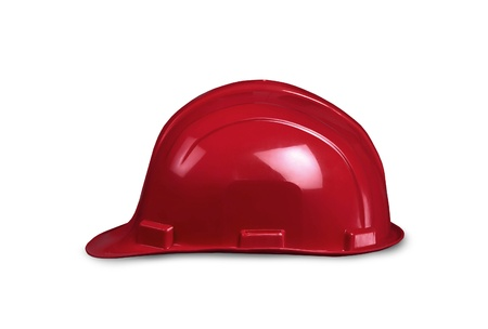 Red builders helmet isolated on white background photo
