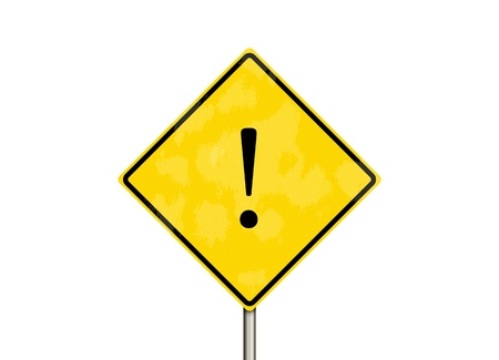 heed: yellow road sign isolate on white background Stock Photo