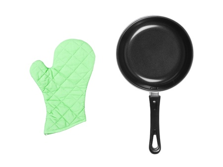 fireproof: kitchen glove with pan isolated on white Stock Photo