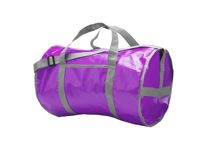 violet sport bag isolated on white background photo