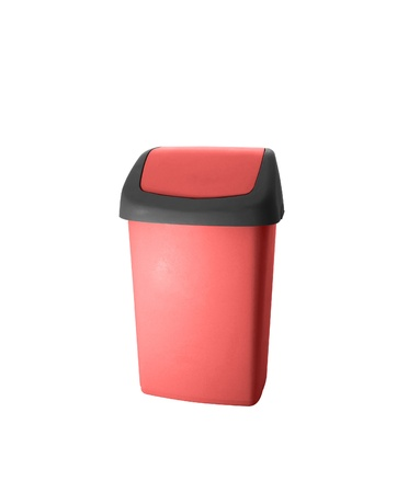 Red office trash isolated on white background photo