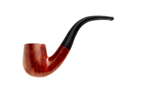 brown tobacco pipe color image isolated on a white background photo