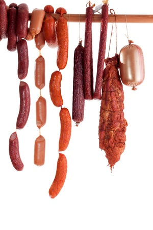 hanging sausage isolated on white background for you