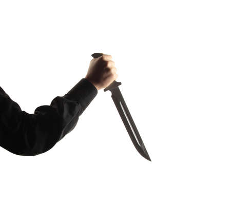 criminally: Man with a blade isolated on white Stock Photo