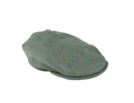 green felt mans cap isolated on white