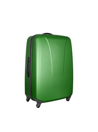 castors: green convenient suitcase on castors on a white background