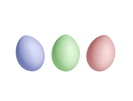 Colored eggs on a white background photo