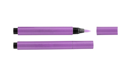 purple Cosmetic pencils isolated on white background photo