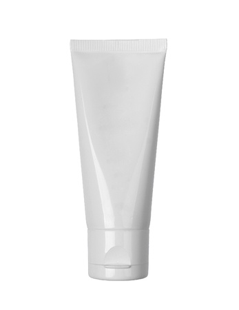 White cosmetic tube with cream isolated on white background Stockfoto