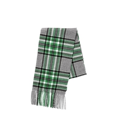 Mens Men Wool gray Plaid Scarf with trim Stock Photo