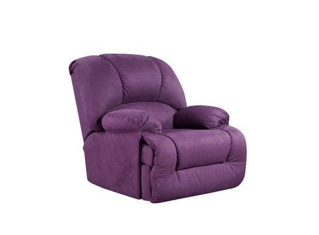 Bright purple leather Armchair isolated on white photo