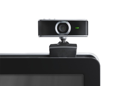 Webcamera op laptop staren naar u Stockfoto