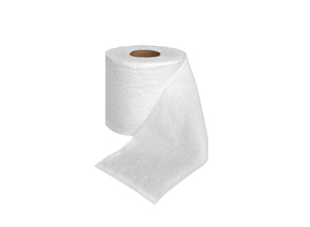 one roll of soft toilet paper isolated on white photo