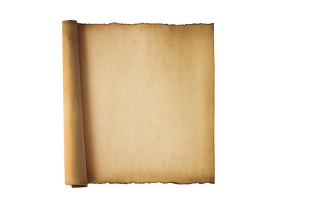 Vintage roll of parchment background isolated on white photo