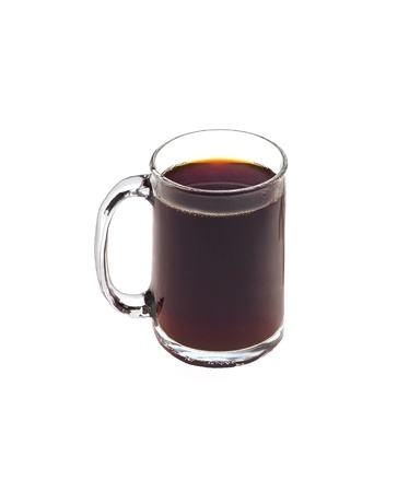 Cup of black tea isolated on white background photo