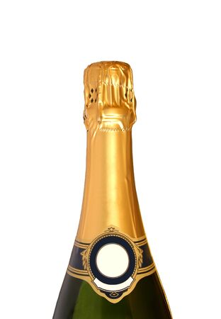 top of a Champagne bottle, isolated on a white background. photo