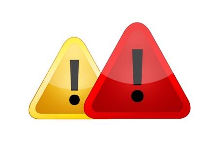흰색 배경에 고립 된 위험 경고 표지판