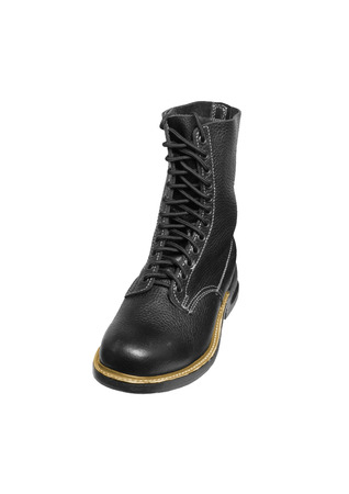 black army boot isolated on white background photo