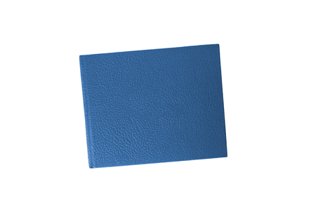 blue leather case notebook isolated on white background photo
