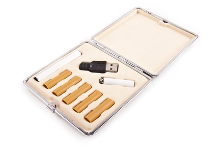 atomiser: electric cigarette in box isolated isolated on white Stock Photo