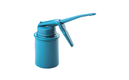 lubricator: blue oil can isolated over white background