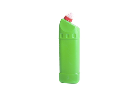 Green cleaning detergent bottle isolated on white photo