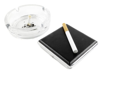 atomiser: electric cigarette and a real cigarette concept isolated