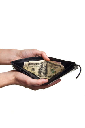 payoff: dollard in purse isolaetd on white background