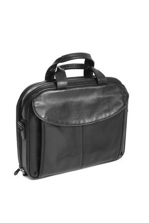 black briefcase: Negocio de lujo negro malet�n isolaetd en blanco