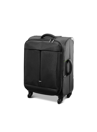 castors: Modern convenient suitcase on castors on a white background Stock Photo