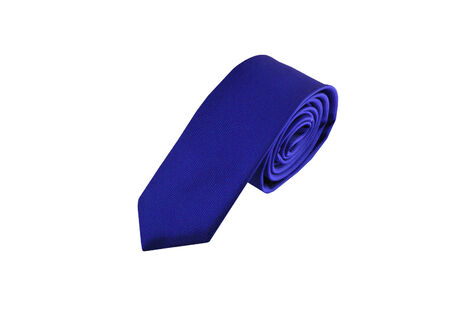 ironed: blue tie isolated on a white background Stock Photo