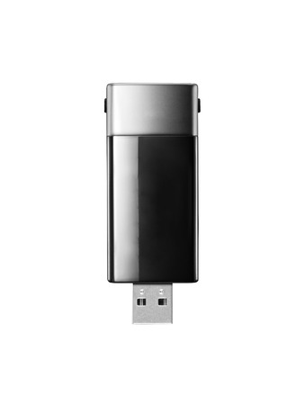 single black usb sd card adaptor arranged over white photo