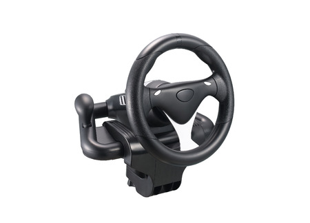 Computer steering wheel isolated on white background photo