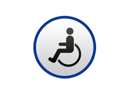 Blue Disabled sign on white background, Illustration illustration