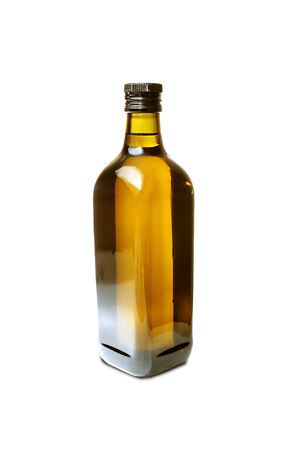 olive oil bottle isolated on white background photo