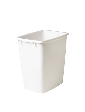 Closed white plastic container isolated on white background photo