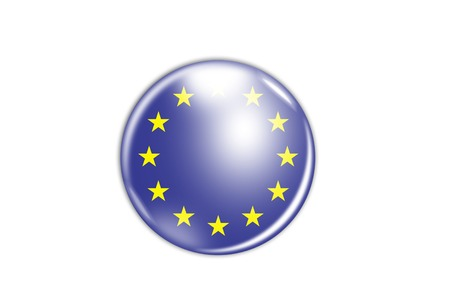 3d rendering of a badge with the flag of Europe photo